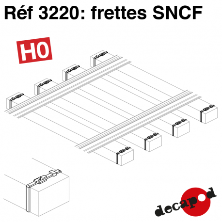 Frettes de traverses SNCF (350 pcs) HO Decapod 3220 - Maketis