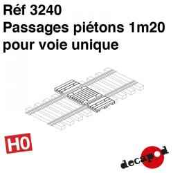 Passage piéton 1m20 pour voie unique (3 pcs) HO Decapod 3240 - Maketis