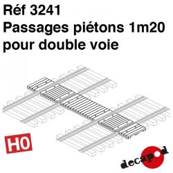 Passage piéton 1m20 pour double voie (3 pcs) HO Decapod 3241 - Maketis