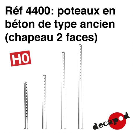Alte Betonpfosten (Kappe 2 Seiten) H0 Decapod 4400 - Maketis