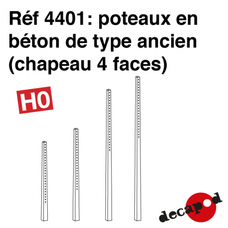 Poteaux béton ancien (chapeau 4 faces) HO Decapod 4401 - Maketis