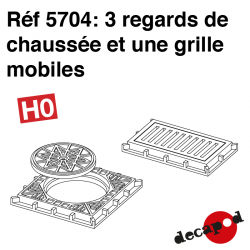 3 mobile manholes and 1 grate H0 Decapod 5704 - Maketis