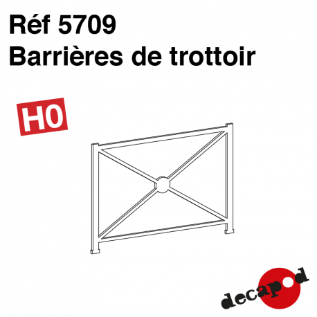 Barrières de trottoir (9 pcs) HO Decapod 5709 - Maketis