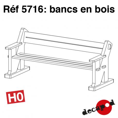 Bancs en bois (12 pcs) HO Decapod 5716 - Maketis
