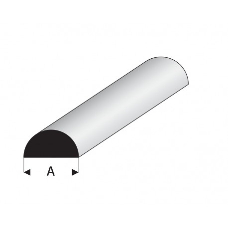 Profilés blanc super styrène demi rond plein