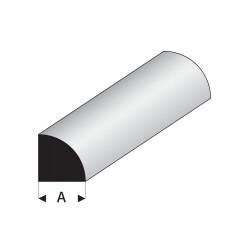 Profilés blanc super styrène quart de rond plein