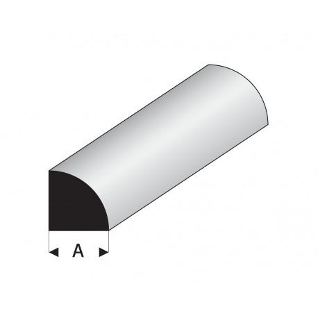 Profilés blanc super styrène quart de rond plein 330 mm Maquett