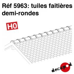 Tuiles faîtières demi-rondes HO Decapod 5963