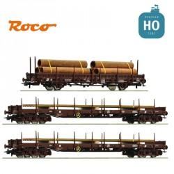 Coffret 3 wagons plats «Train pour le transport d'acier», ÖBB Ep V HO Roco 76053 - Maketis