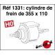 Cylindre de frein de 355 x 110 HO Decapod 1331 - Maketis
