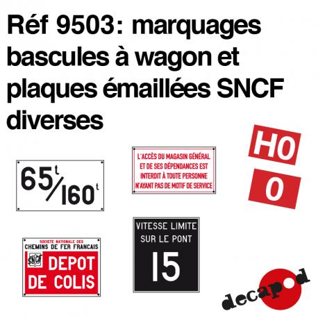 Marquages bascules à wagon et plaques émaillées SNCF Decapod 9503 - Maketis