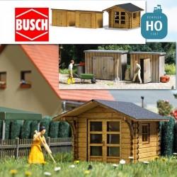 Abris de jardin + 2 remises HO Busch 1529 - Maketis