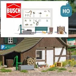 5 Chats et accessoires de jardin de campagne HO Busch 7921 - Maketis