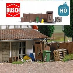 7 Ratons laveurs et accessoires de décor HO Busch 7922 - Maketis