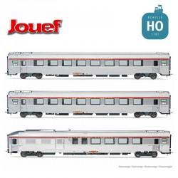 Coffret 3 Voitures TEE L'arbalète (A8tu, A8u, A4DTux) SNCF Gris EP IV HO Jouef HJ4144 - Maketis