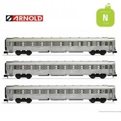 Coffret 3 Voitures DEV Inox (A9, et B10) SNCF EP III N Arnold HN4335 - Maketis