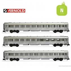 Coffret 3 Voitures DEV Inox (A9, bar A5 et B10) SNCF EP III N Arnold HN4336 - Maketis