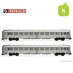 Coffret 2 Voitures DEV Inox B10 SNCF EP IV N Arnold HN4337 - Maketis
