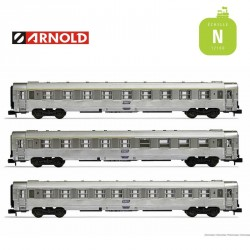 Coffret 3 Voitures DEV Inox (A9, bar A5, B10) SNCF EP IV N Arnold HN4338 - Maketis