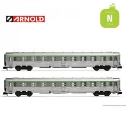 Coffret 2 Voitures DEV Inox B9 SNCF 2e classe EP IV N Arnold HN4340