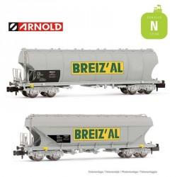 "Coffret 2 Wagons céréaliers SNCF Blanc logo ""BREIZ'AL"" EP IV-V N Arnold HN6470 - Maketis"
