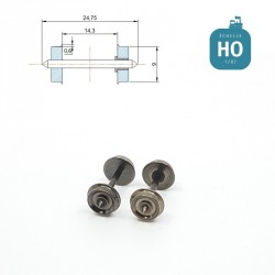 Essieux RP25 (2 pcs) pour wagon Roco diamètre 9,0 mm HO MAK8111 - Maketis