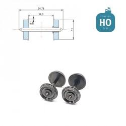Essieux RP25 (2 pcs) pour wagon Roco diamètre 11,0 mm HO MAK8112 - Maketis