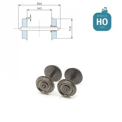 Essieux NEM (2 pcs) pour wagon Lima diamètre 11,4 mm HO MAK6109 - Maketis