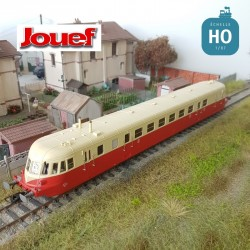Autorail Diesel ABJ 2 SNCF Rouge/Beige toit beige EP III Digital son HO Jouef HJ2408S - Maketis