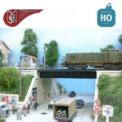 Steel bridge with right abutment, double track H0 PN Sud Modelisme 8703