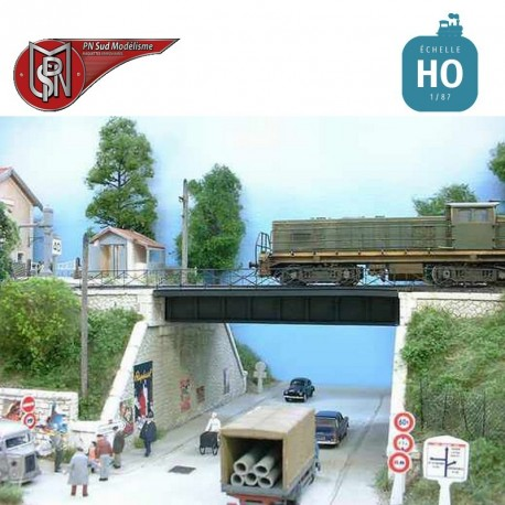 Steel bridge with right abutment, double track H0 PN Sud Modelisme 8703 - Maketis