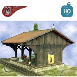 Halle marchandise type ancien en bois HO PN Sud Modélisme 8714 - Maketis
