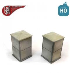 Electrical cabinets Fibro (2 pcs) H0 PN Sud Modelisme 0801