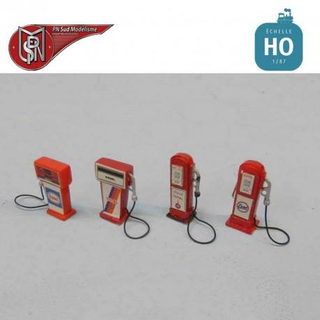 Pompes à essence vintage (4 pcs) HO PN Sud Modélisme 87122 - Maketis
