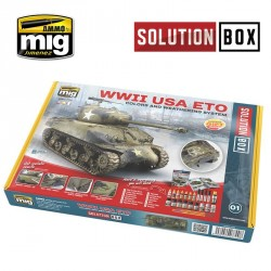 """Coffret de peinture Tout en Un """"Solution Box"""" pour véhicules Américains WWII Mig AMIG7700 - Maketis"""