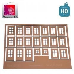 Fenêtres sur rue pour immeubles Jouef, marron.