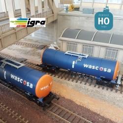 Set 2 wagons citernes Zacns 88 Wascosa orange/bleu EP VI HO Igra Model IG96210019