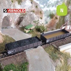 Coffret 2 Wagons tombereaux ouverts bas Tw SNCF avec charbon EP III N Arnold HN6492 - Maketis