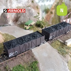 Coffret 2 Wagons tombereaux ouverts Tw SNCF avec charbon EP III N Arnold HN6491 - Maketis