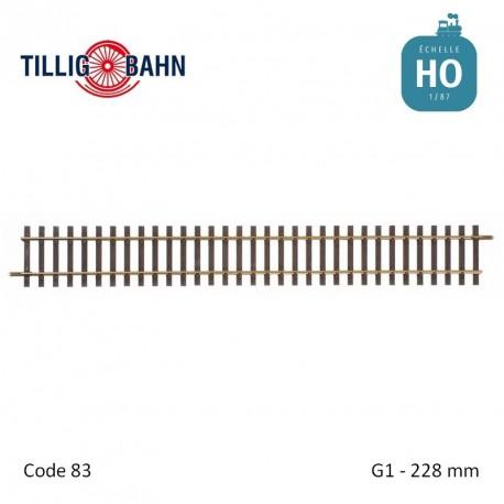 Rail droit Elite G1 228mm code 83 HO Tillig 85118 - Maketis