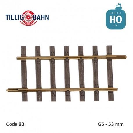 Rail droit Elite G5 53mm code 83 HO Tillig 85128 - Maketis