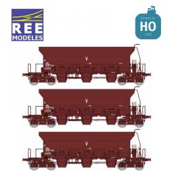 Set de 3 wagons trémies à ballast F70 Uas SNCF Ep IV-V HO REE WB-679 - Maketis