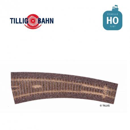 Semelle de voie ballastée HO STYROSTONE brune, pour aiguillage en courbe à gauche 17°