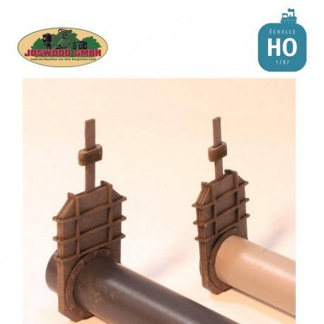 Vanne, 3 pièces 14 mm incluant brides à rivets Joswood JW40071 - MAKETIS