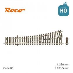 Aiguillage à gauche Roco-Line R873,5mm 15° Code 83 HO Roco 42440 - Maketis