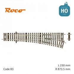 Aiguillage à droite Roco-Line R873,5mm 15° Code 83 HO Roco 42441 - Maketis