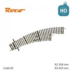 Aiguillage courbe à droite Roco-Line R2/R3 358/419mm 30° Code 83 HO Roco 42465 - Maketis