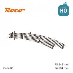 Aiguillage courbe à droite Roco-Line R5/R6 542/604mm 30° Code 83 HO Roco 42471 - Maketis