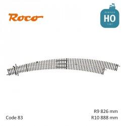Aiguillage courbe à droite Roco-Line R9/R10 826/888mm 30° Code 83 HO Roco 42477 - Maketis
