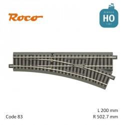 Aiguillage à droite GeoLine R502,7mm 22.5° Code 83 HO Roco 61141 - Maketis
